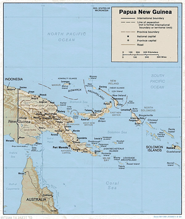Detailed political and relief map of Papua New Guinea with cities.