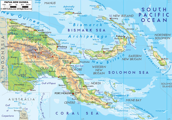 Large detailed physical map of Papua New Guinea with roads and cities.