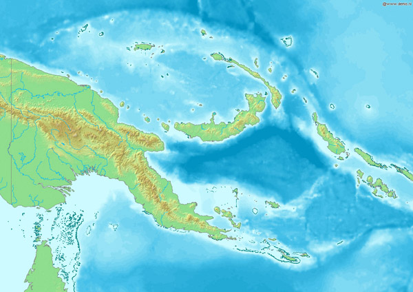 Large detailed relief map of Papua New Guinea.