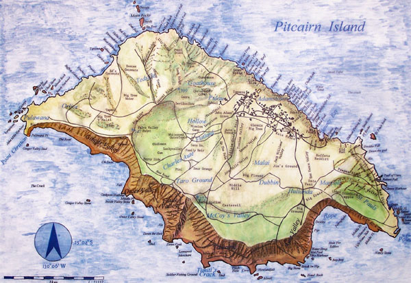 Large detailed road map of Pitcairn Islands. Pitcairn Islands large detailed road map.