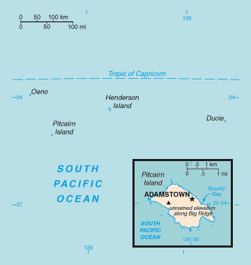 Map of Pitcairn Islands. Pitcairn Islands map.