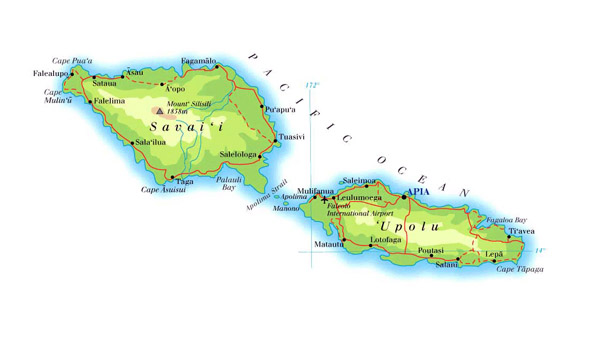 Detailed physical map of Samoa with roads and cities.