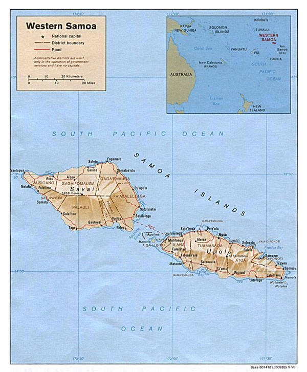 Detailed political and relief map of Samoa with cities and roads.