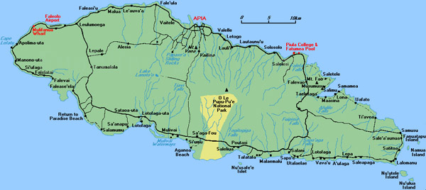Detailed road map of Western Samoa. Western Samoa detailed road map.