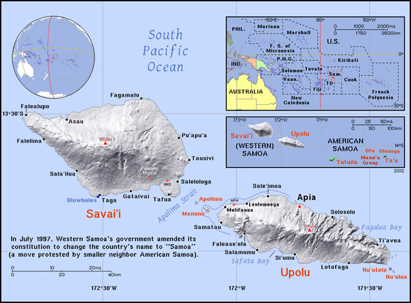 Full political map of Samoa. Samoa full political map.