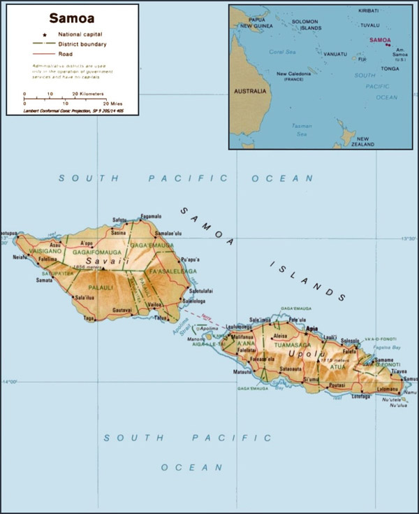 Large detailed administrative and relief map of Samoa with cities and roads.