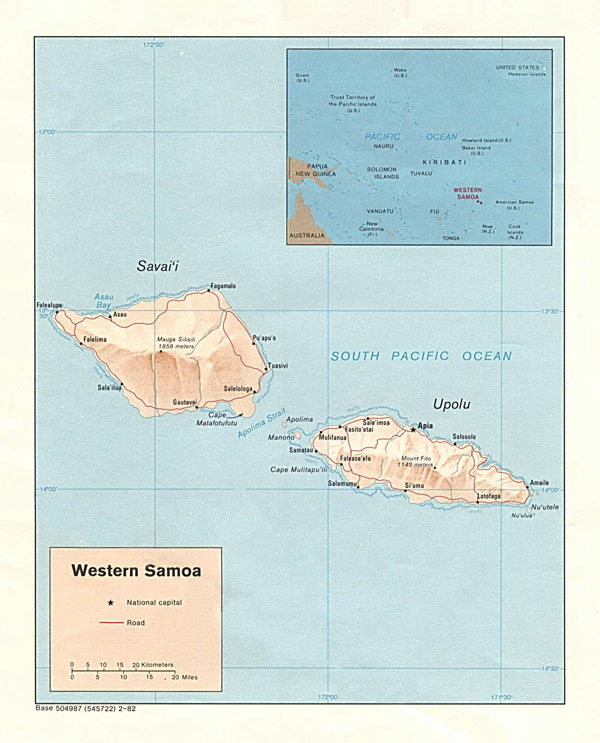Large detailed political and relief map of Samoa.