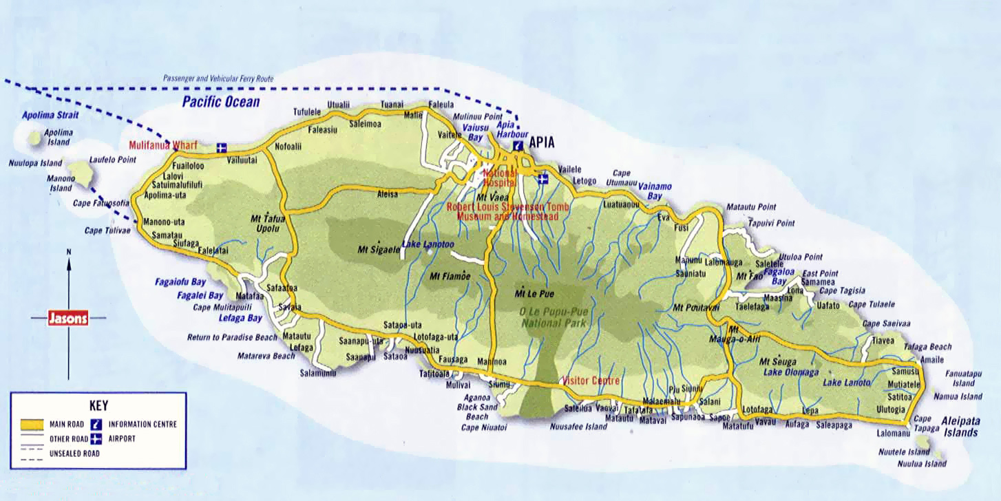 Large detailed road map of Western Samoa Western Samoa large