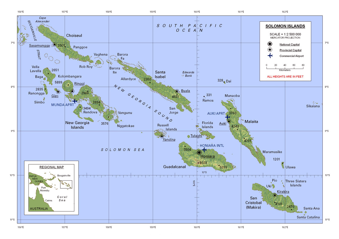 Solomon Islands World Map.Large Detailed Map Of Solomon Islands With All Cities And Airports