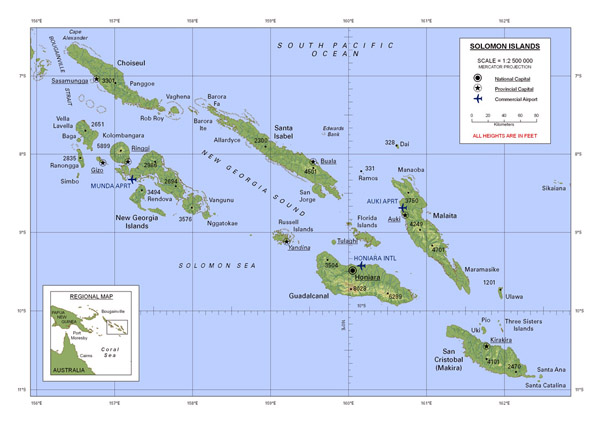 Large detailed map of Solomon Islands with all cities and airports.