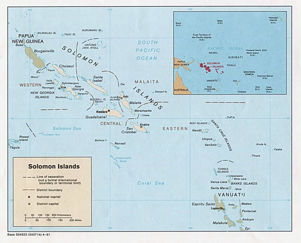 Large detailed political map of Solomon Islands. Solomon Islands large detailed political map.