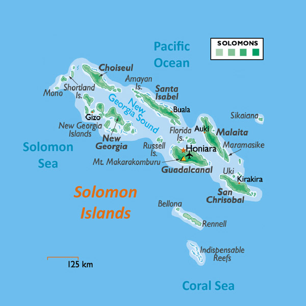 Large physical map of Solomon Islands with all cities and airports.