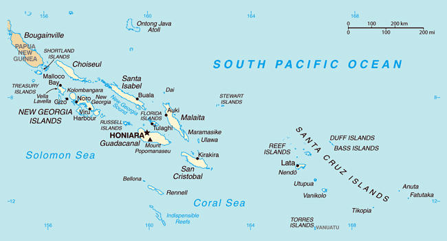 Map of Solomon Islands. Solomon Islands map.