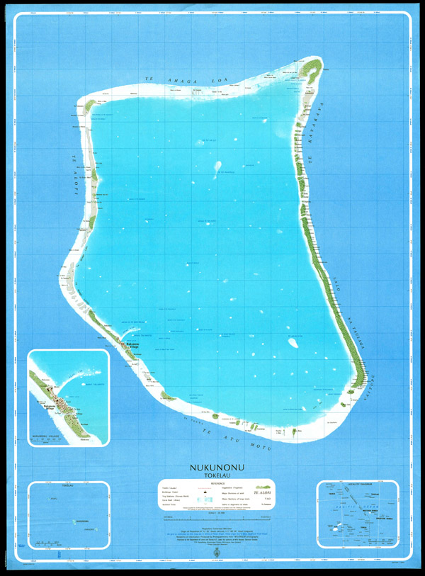 High resolution large detailed topographical map of Nukunonu Atoll, Tokelau.