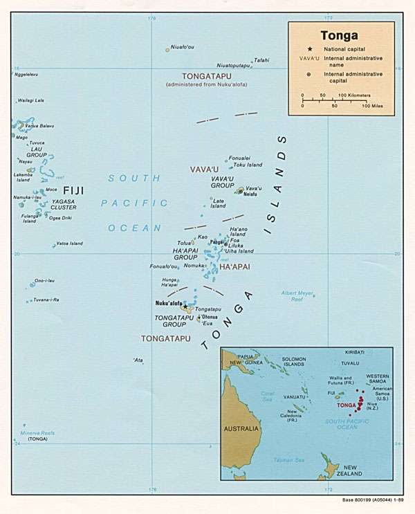Large detailed political map of Tonga. Tonga large detailed political map.
