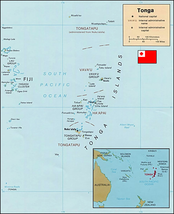 Large detailed political map of Tonga with cities.