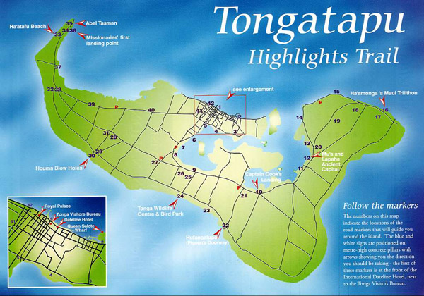 Large detailed travel map of Tongatapu Island, Tonga.