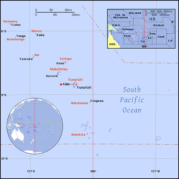 Full political map of Tuvalu. Tuvalu full political map.