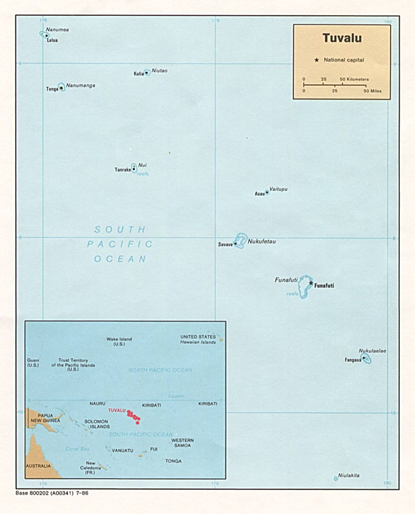 Large detailed political map of Tuvalu. Tuvalu large detailed political map.