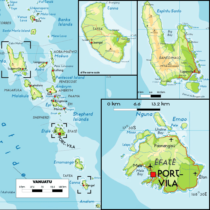 Detailed physical map of Vanuatu with cities and airports.