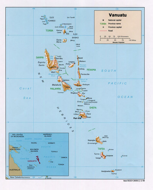 Detailed political and relief map of Vanuatu with roads and cities.
