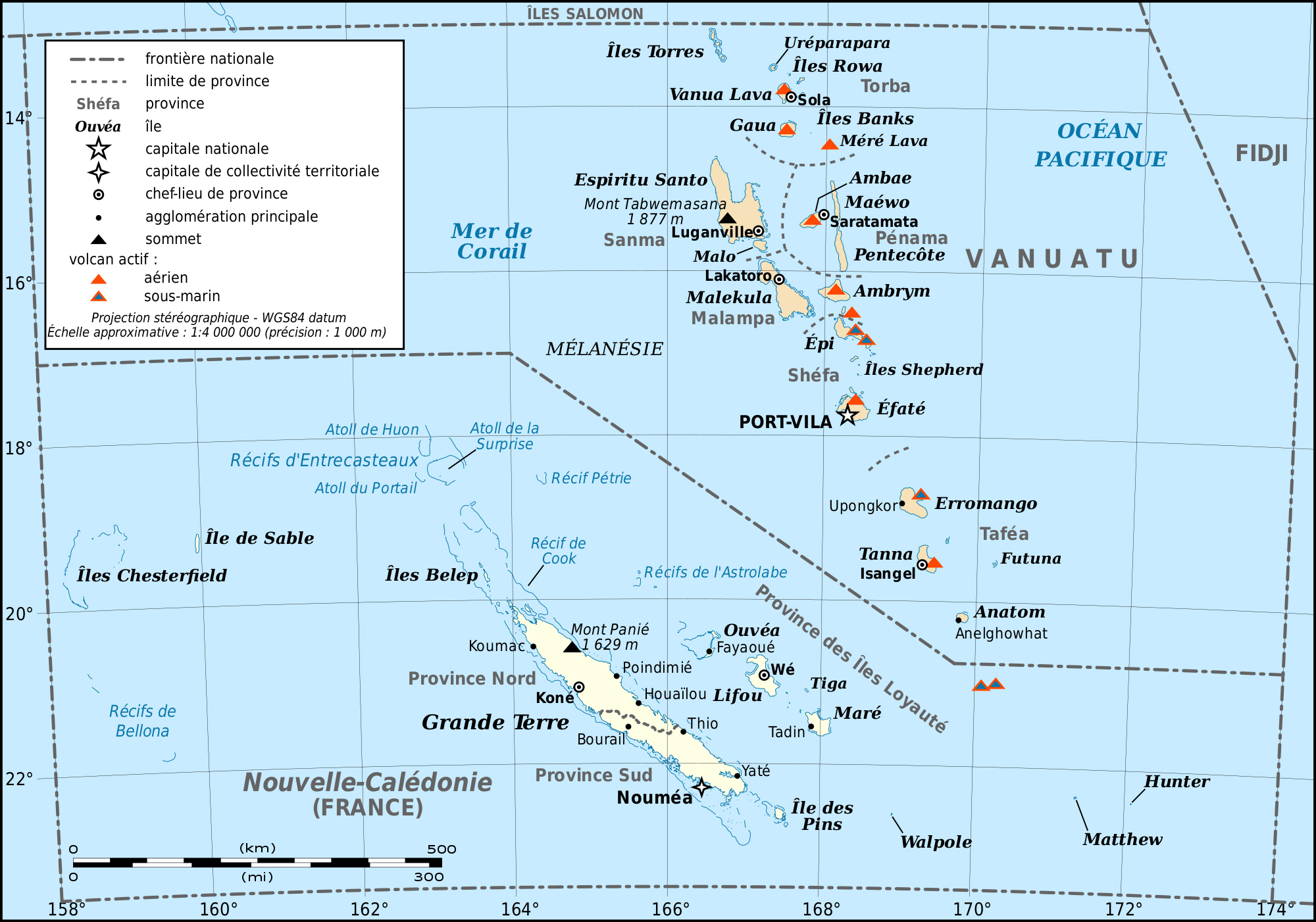 Large Detailed Map Of New Caledonia And Vanuatu New Caledonia And - Vanuatu map