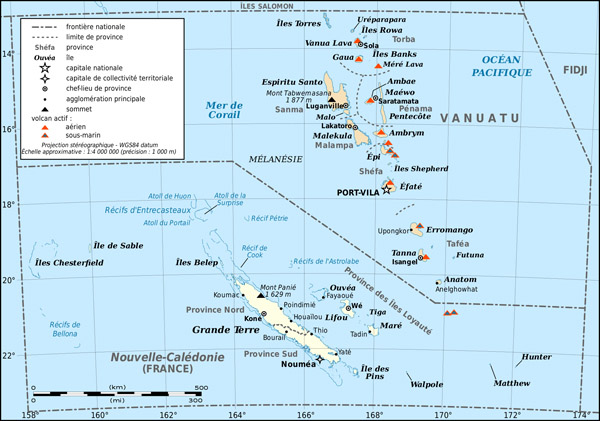 Large detailed map of New Caledonia and Vanuatu. New Caledonia and Vanuatu large detailed map.