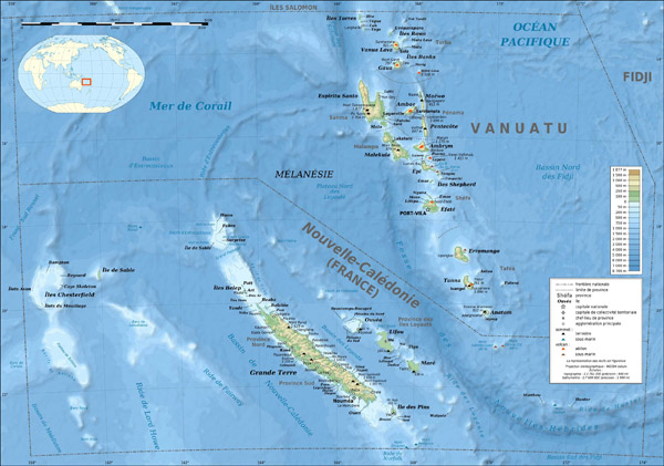 New Caledonia and Vanuatu bathymetric and topographic large detailed map.