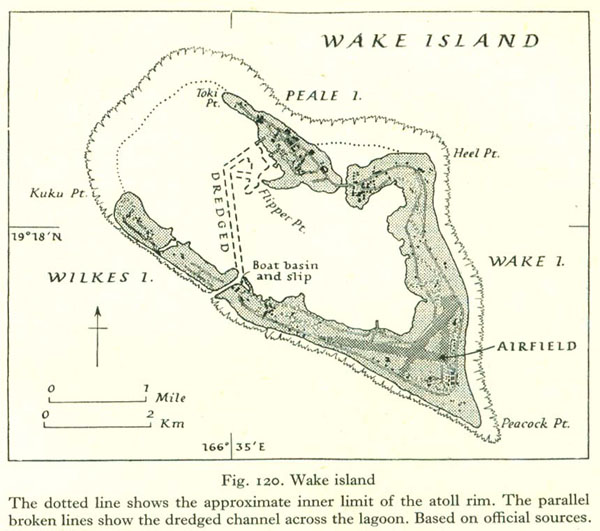 Large detailed old map of Wake Atoll 1943 – 1945.