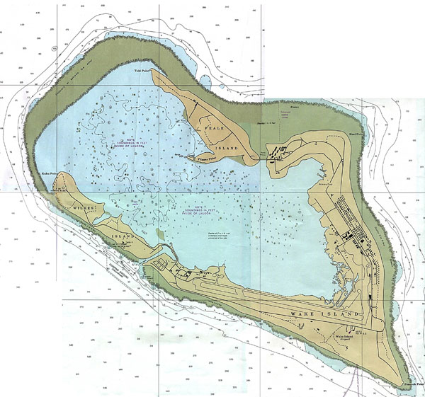 Large detailed topographical map of Wake Atoll.