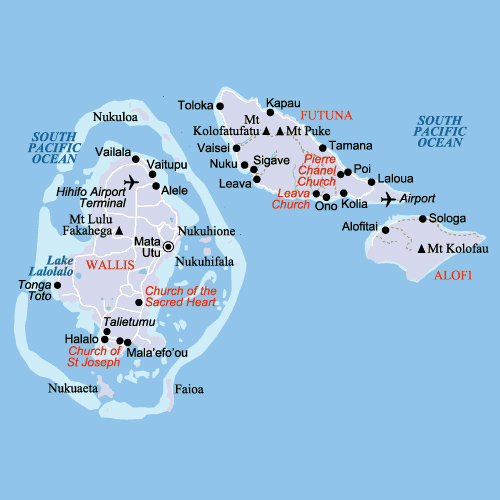 Map of Wallis and Futuna. Wallis and Futuna map.