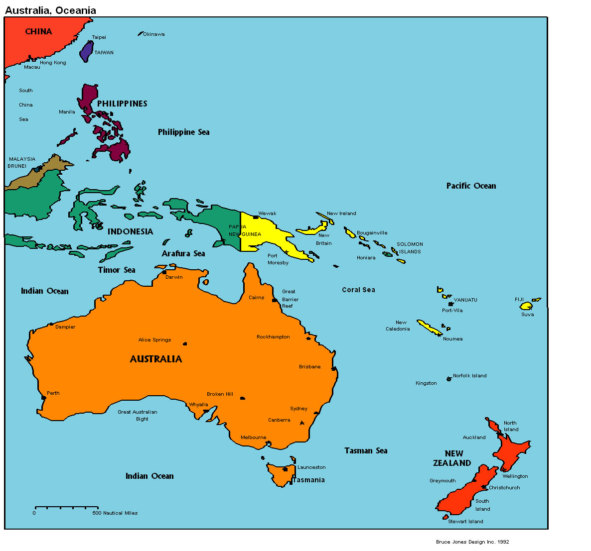 map of Australia and Oceania. Australia and Oceania political map