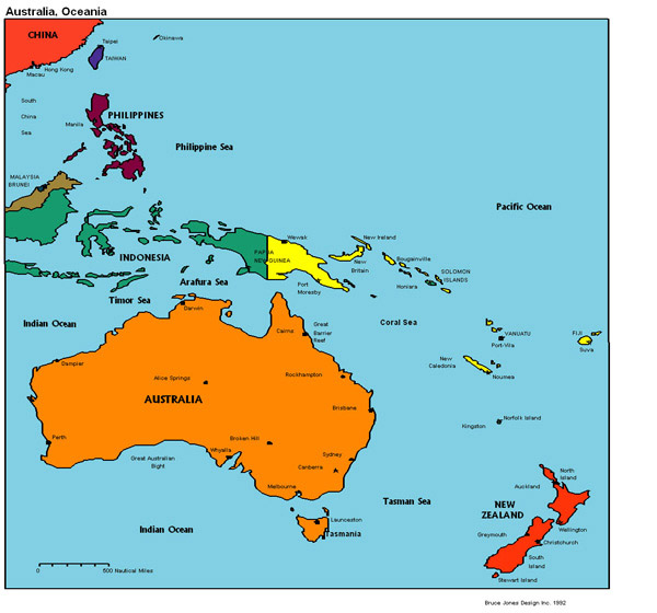 Political map of Australia and Oceania.