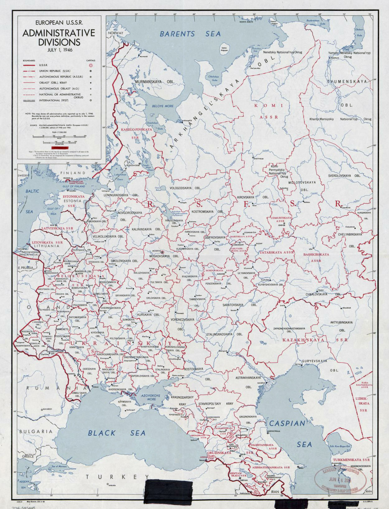 Detailed old administrative divisions map of European USSR – 1946 ...