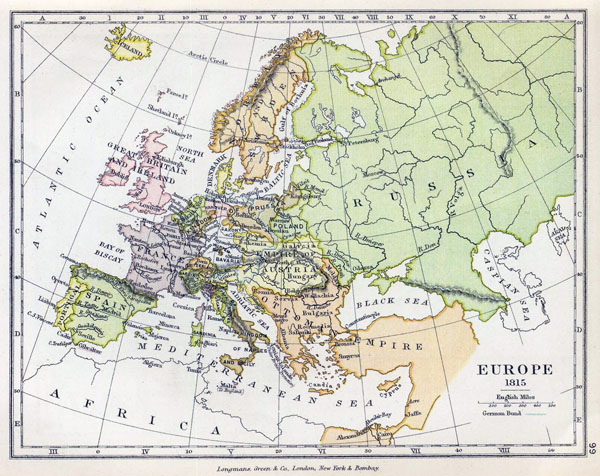 Detailed old political map of Europe - 1815.