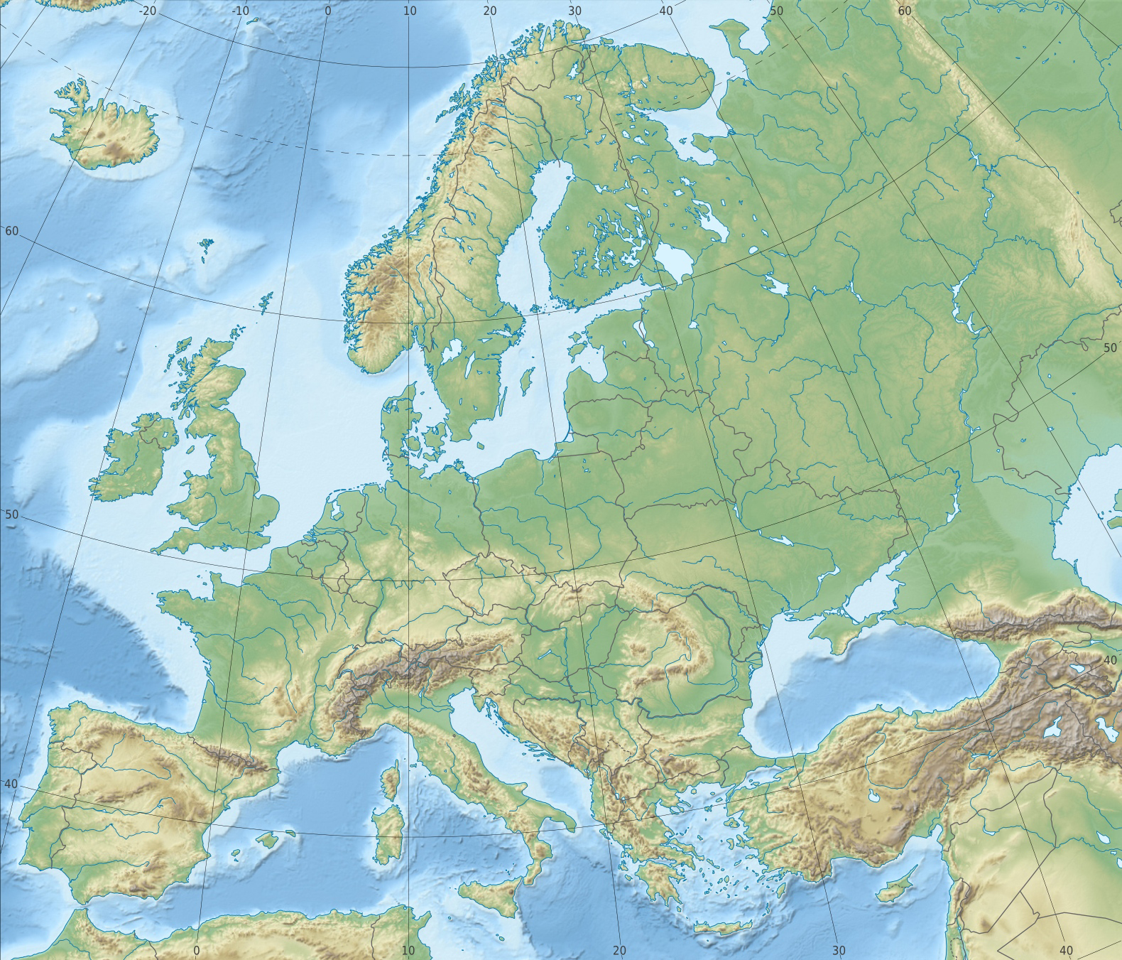 Detailed physical and relief map of Europe Europe detailed physical and reli