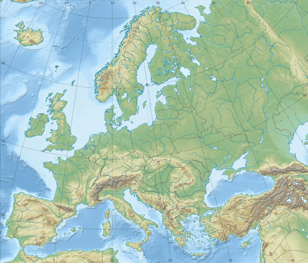 Detailed physical and relief map of Europe.