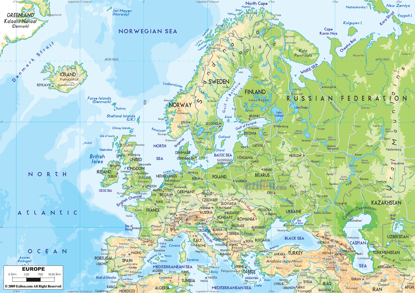 Detailed physical map of Europe with roads Europe detailed – Detailed Travel Map Of Europe