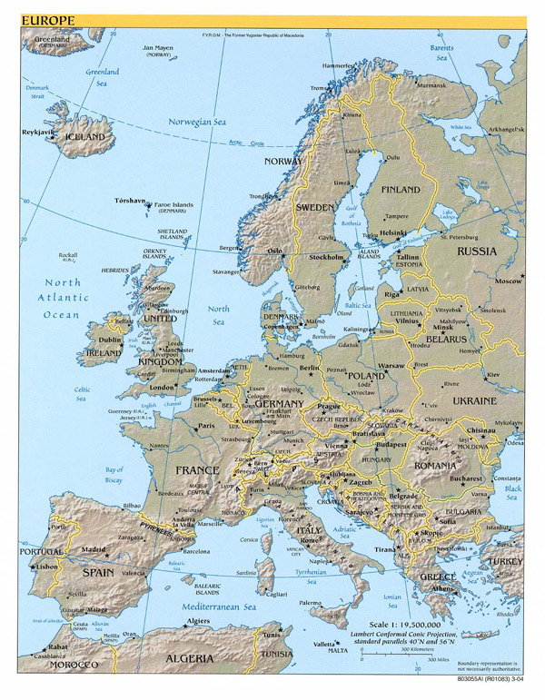 Detailed political and relief map of Europe.