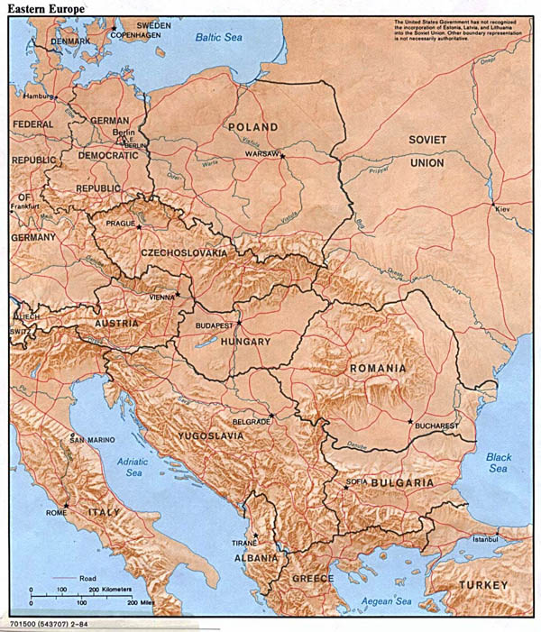 Detailed political map of Eastern Europe with relief - 1984.
