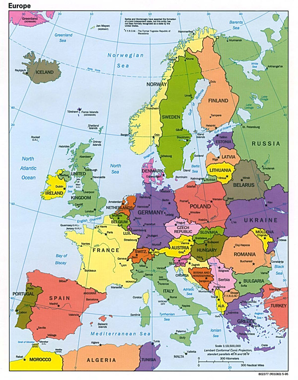 Detailed political map of Europe.