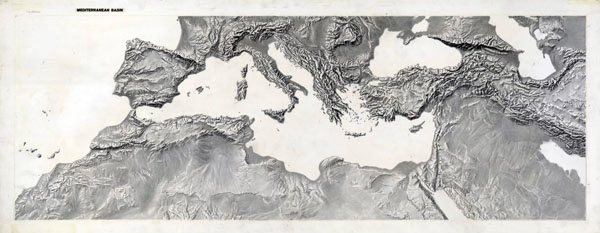 Detailed relief map of the Mediterranean Basin.