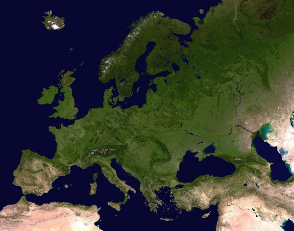 Detailed satellite map of Europe.