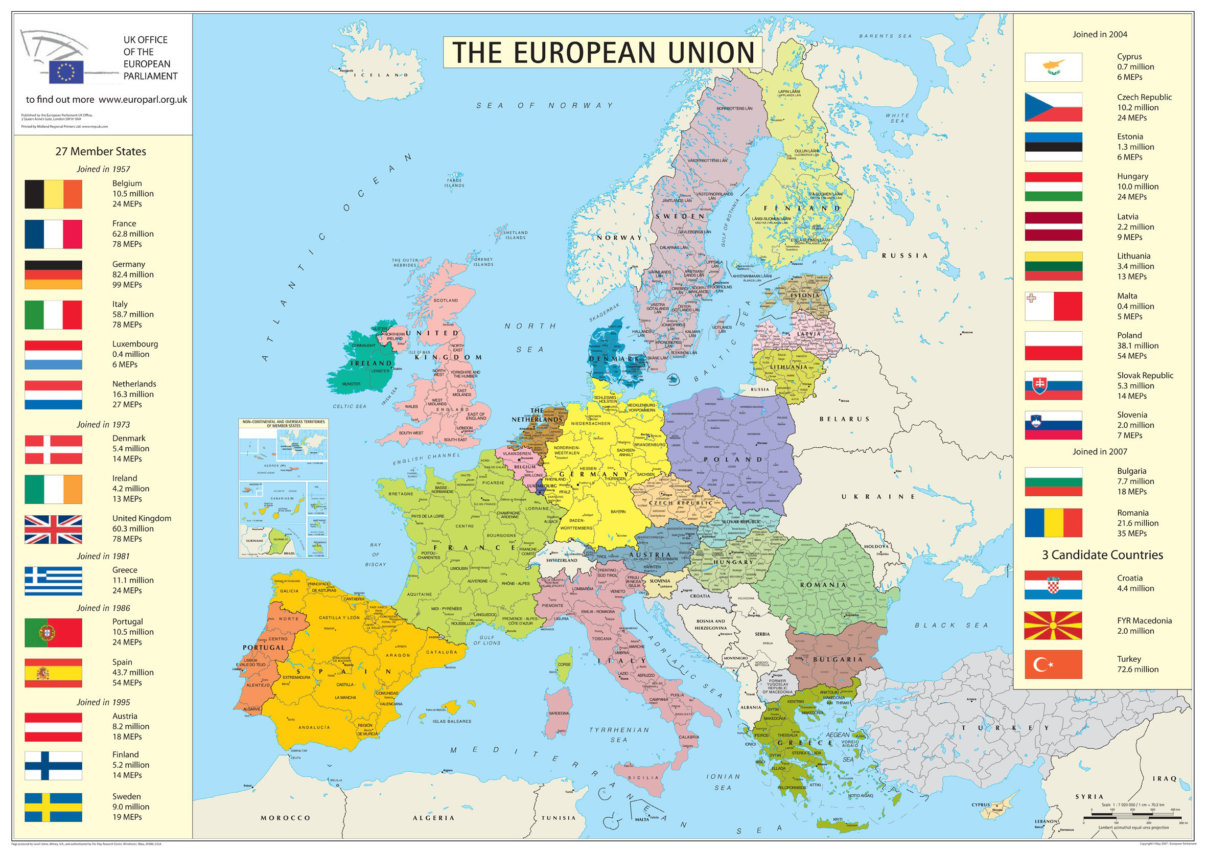 European Union Member States Detailed Map Detailed Map Of Member - Map of all countries