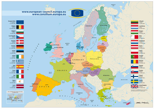 Large detailed European Union map - 2011.