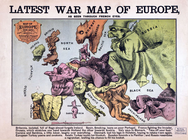 Large detailed Latest War Map of Europe - 1870.
