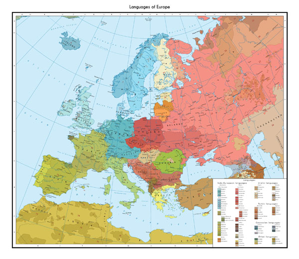 Large detailed linguistic map of Europe.