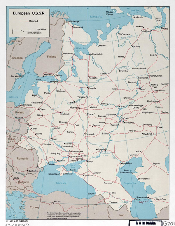 Large detailed map of European USSR with railroads - 1975.