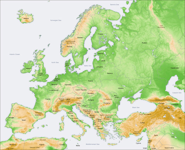 Large detailed physical map of Europe 2006 issue.