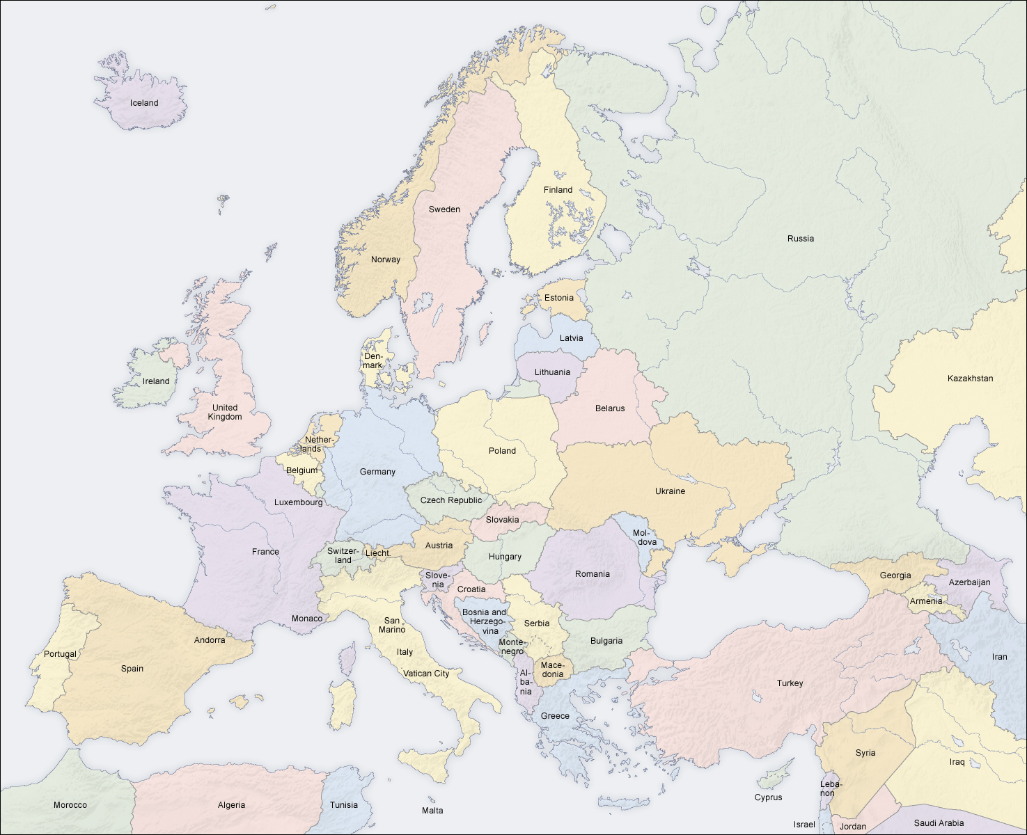 Large detailed political and relief map of Europe Europe